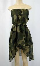 Sexy Army Camouflage Sleeveless Open Back Flared Tube Top Dress w/Stretch Back