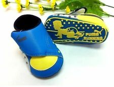 New PUMA Soft Sole Baby Boy's BLUE/YELLOW Sneakers Crib Shoes. Age 0-18 Months