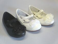 Girl Dress Flats w/ Flowers (ciciya) Toddler Pageant Flower Girls Party White