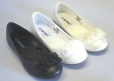 Girls Flats w/ Flowers (cici) Youth Flower Girl White Black Off-White Pearl