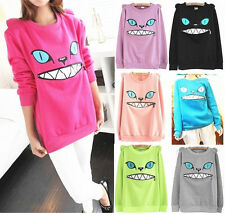 Colored Zipper Smile Mouth 3D Cat Front Shoulder Ear Long Sleeve Jumper Sweater