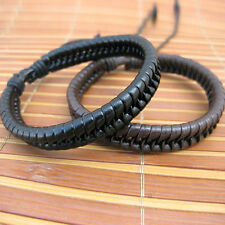 Punk Mens Brown Genuine Cow Leather Surf Braided Bracelet Cuff Wristband Bangle