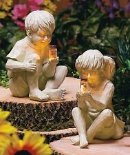 Kids Boy Girl with Solar Fireflies Garden Figure Statues NEW