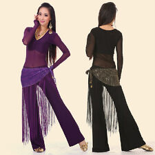 Belly Dance Indian Dance Costume (See-through Top,Fringe Scarf,Pants) 10 Colours