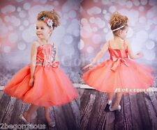 Sequined Tulle Formal Dress Wedding Bridesmaid Party Occasion Girl Size 2-9y 304