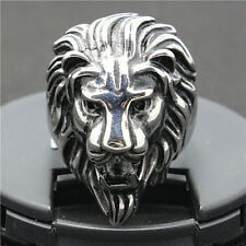 Stainless Steel Biker Tribal Strong King Lion's Head Wide Men's Ring Size 9-17
