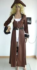 Adult Sexy Deluxe Pirate Swashbuckler Captain Costume Brown Jacket Size S-2XL