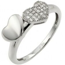 Sterling Silver Clear CZ Double Hearts Love Valentine's Day Gift Ring Sizes 3-11