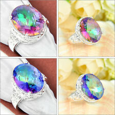 Unique Charming Oval Rainbow Fire Mystical Topaz Gemstone Silver Ring Sz 7 8 9