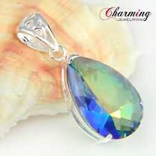 HUGE ! Charming Water Drop Rainbow Fire Mystical Topaz Gemstone Silver Pendant