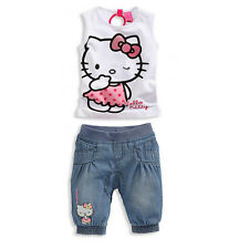 Hello Kitty Girl Summer Cotton Set White T-Shirt+Pants Cartoon Sleeveless 2T-5
