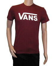 Vans Burgundy/White Red Classic Logo Mens Tee, BNWT, Skate, Extreme Sports,Casua