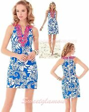 $198 Lilly Pulitzer Augusta Deep Sea Blue Quahog Chowdah Lace Front Shift Dress