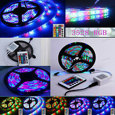 5M 10M RGB 3528 SMD 60LEDS/M 300LED Light Strip Flexible + IR Remote + 12V power
