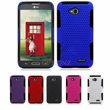 For Boost Mobile LG Realm LS620 Dual Layer Hybrid Net Mesh Case Cover + Screen