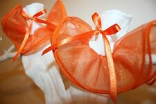 Girls White Nylon & Orange Organza Bobby Socks with Orange Satin Ribbon Bows