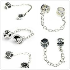 925 Sterling Silver Safety Chain Series Bead Fits European Charm Bracelet
