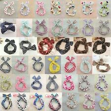 Hot Free shipping Bunny Ears Ribbon Tie Bow Bendy Wire Hair Scarf Head Wrap Band