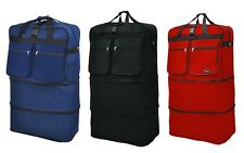 "40"" Rolling Wheeled Duffle Bag Spinner Suitcase Duffel Luggage - Black Red Navy"