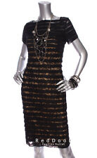 NEW ADRIANNA PAPELL Women Short Sleeve Tiered Lace Sheath Dress Black 4 6 14 16