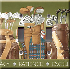 Light Switch Plate Cover - Golf bags drivers - Sports course links club tee hole