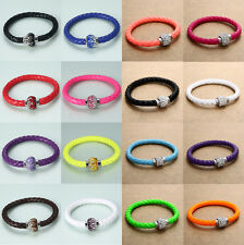 HOT Leather Charm Wrap Wristband Cuff Magnetic Rhinestone Buckle Bracelet Bangle