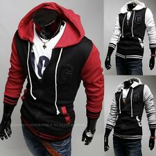 Men Spell Color Zipper Hooded Sweater Jacket Embroidered Sports Letter G Coats
