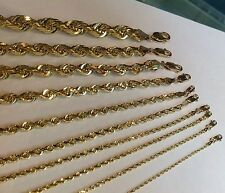 """1.5MM-10MM 14K D/C SOLID YELLOW GOLD WOMEN/ MEN'S ROPE CHAIN NECKLACE 16""""-30"""""""