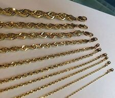 "1.5MM-10MM 14K SOLID YELLOW GOLD WOMEN/ MEN'S ROPE CHAIN NECKLACE 16""-30"""