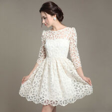 Stylish Celebrity Lace Wear Slim Evening Wedding Bridesmaid Party Dresses White