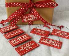 Red Wood Christmas Gift Tag Signs Do not open Until 25th Tags Vintage Retro Mini