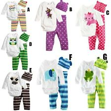 3PC Hot Infant Baby Cute Bodysuit+Pants+Hat Cotton Sleepsuit  Set Clothes 0-18M