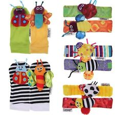 Vic 2 Pcs Lamaze Baby Socks Toy Wrist Rattles Bell and Foot Finders Multi color