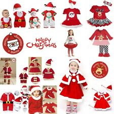 Baby Kids Boy Girl Christmas Xmas Santa Claus Costume Dress Outfit Party 0M-Age4