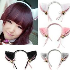 Cat Fox Ears Long Fur headband with Bell Bow for Anime Cosplay Party Costume New