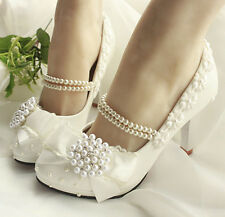 Classic Grace Pearl Chain Tassel Lace Flower Bows Wedding Women Bridal High Heel