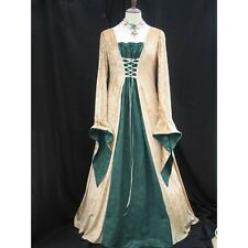 Green Satin gold velvet medieval dress