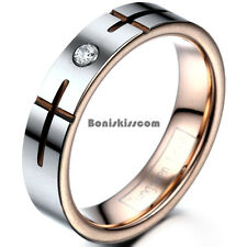 5mm Tungsten Carbide Cross Grooved Wedding Band Rose Gold Color Engagement Ring
