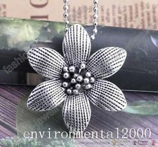 1Pc Latest Antique Tibetan Silver Flower Pendant Long Chain Necklace 27.58''