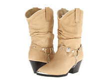 """Dingo Womens BAILEY 10"""" Fashion Toe Slouch Western Boots Tan Leather DI526"""