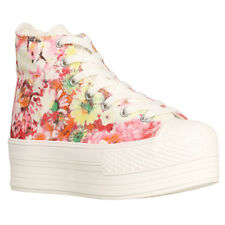 New Womens Fashion High-Top Cotton Flower Print Platform Sneakers Shoes Blue,Red