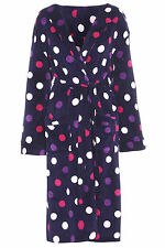 PURPLE Ladies Hooded Fleece Spot Dressing Gown Robe Size 10 12 14 16 18 20 22 24