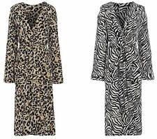 Ladies Fleece Leopard Zebra Hooded Dressing Gown Size 10 12 14 16 18 20 22 24