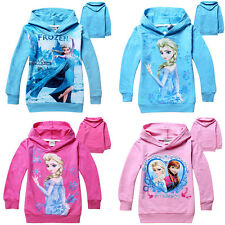Girls Kids Frozen Princess Elsa Anna Hooded Coat Jacket Jumper Ages 3-7years