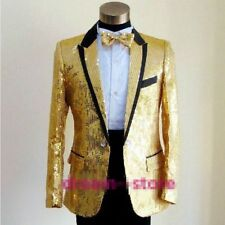 Hot  Mens Gangnam Style Jacket Costume Coat Bling Sequins Tuxedo SUIT & Bow Tie