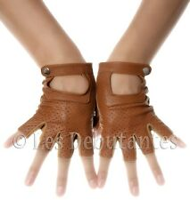 WOMENS BROWN LEATHER SUEDE FINGERLESS DRIVING GLOVES