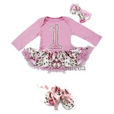 Baby Pink Rose 1st  Birthday Flower Pettiskirt Bodysuit Tutu Shoes Party Dress
