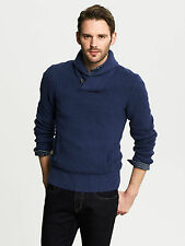 NWT Banana Republic Men's Textured Shawl-Collar Pullover Thick Sweater ColorBlue