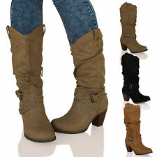 WOMENS BOOTS LADIES MID CALF COWBOY BLOCK HEELS BUCKLE STUDDED NEW SIZE WINTER
