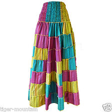Hippy Elasticated Waist Long Skirt/Dress,Yellow,Turquoise & Red Stripes,Free P&P